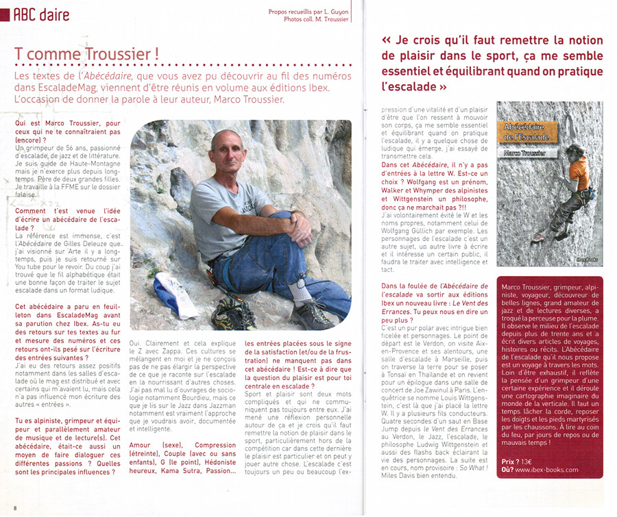 Interview Marco Troussier EscaladeMag