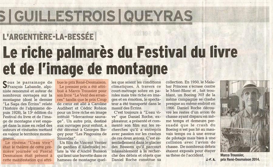 Le Prix René Desmaison 2014 dans le Dauphiné Libéré