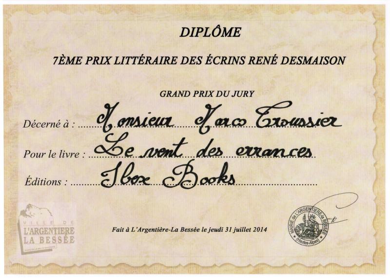 Diplôme Prix Littéraire des Ecrins René Desmaison