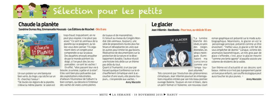 Le Glacier dans le journal La Semaine
